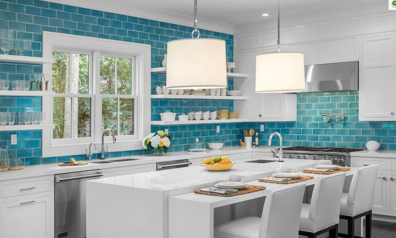 Subway tile in blue for the wall kitchen finishing