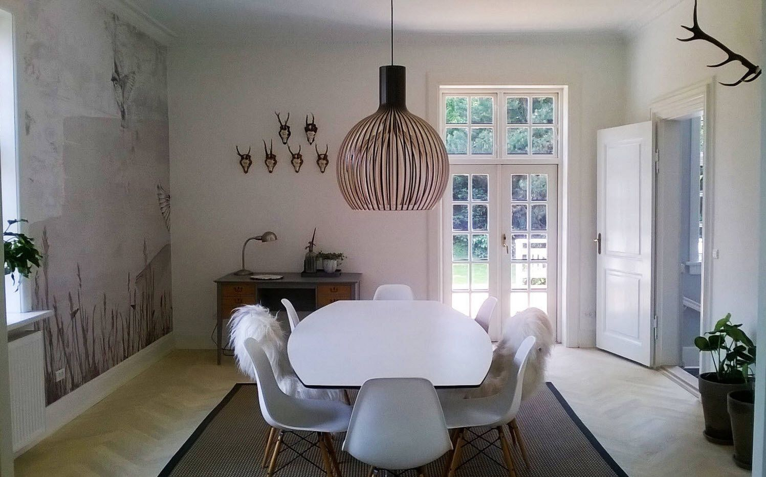 Modern Cottage Interior Design Tips. Trends and Features 2017. Dining room at the first floor with plastic furniture