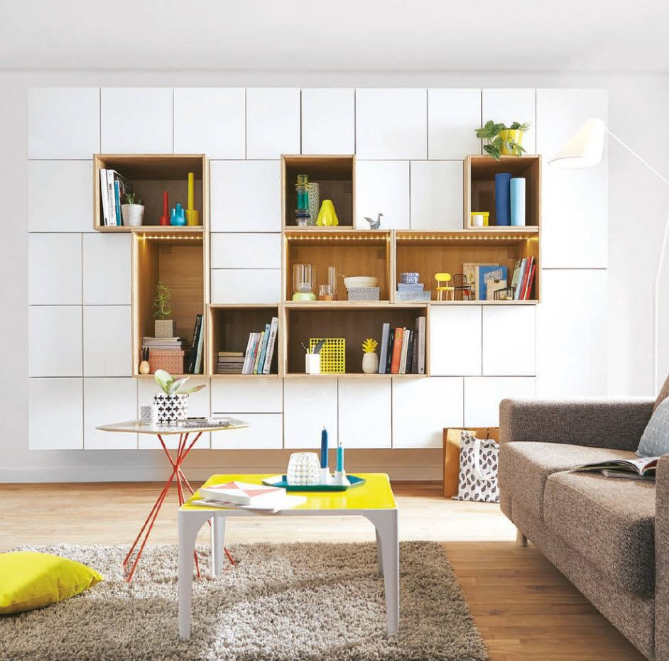 White wooden modular wall for the books and things
