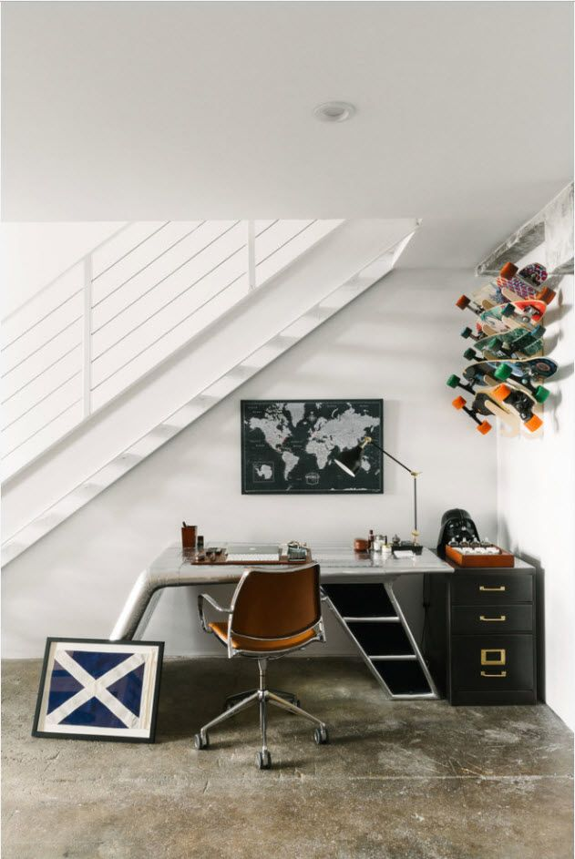 Top 100 Modern Home Office Design Trends 2017. Futuristic forms of the table at the working zone under the stairs
