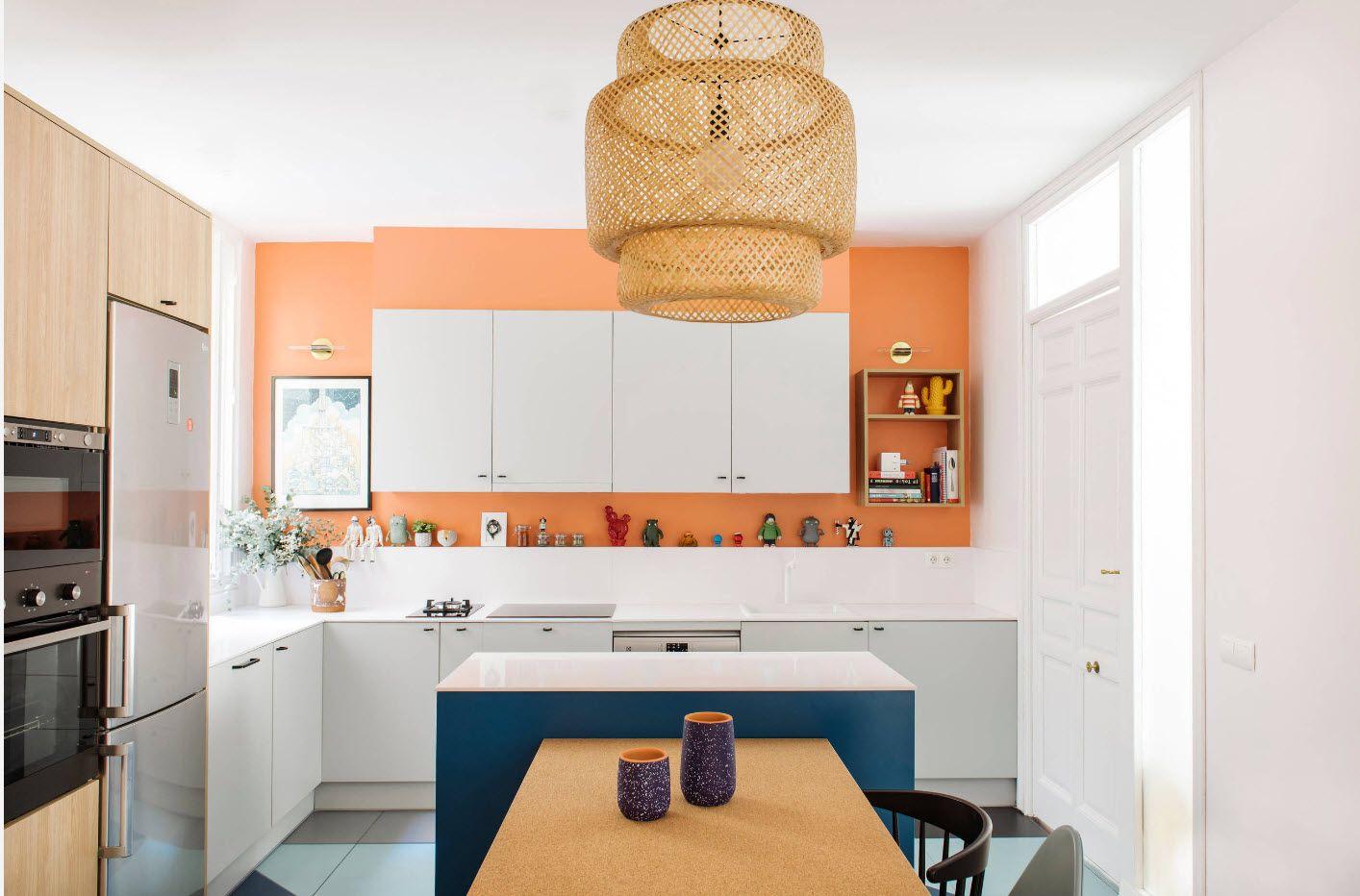 Accent orange wall in the Scandi kitchen design