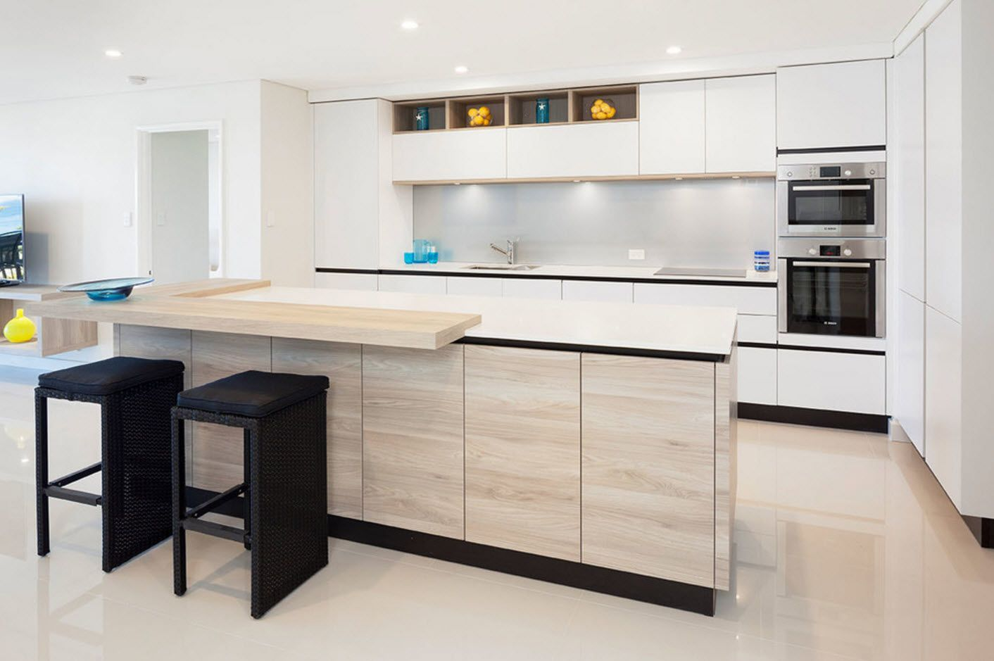 40 Square Feet Kitchen Modern Design Ideas & Layout Types. White hi-tech styled space with an island