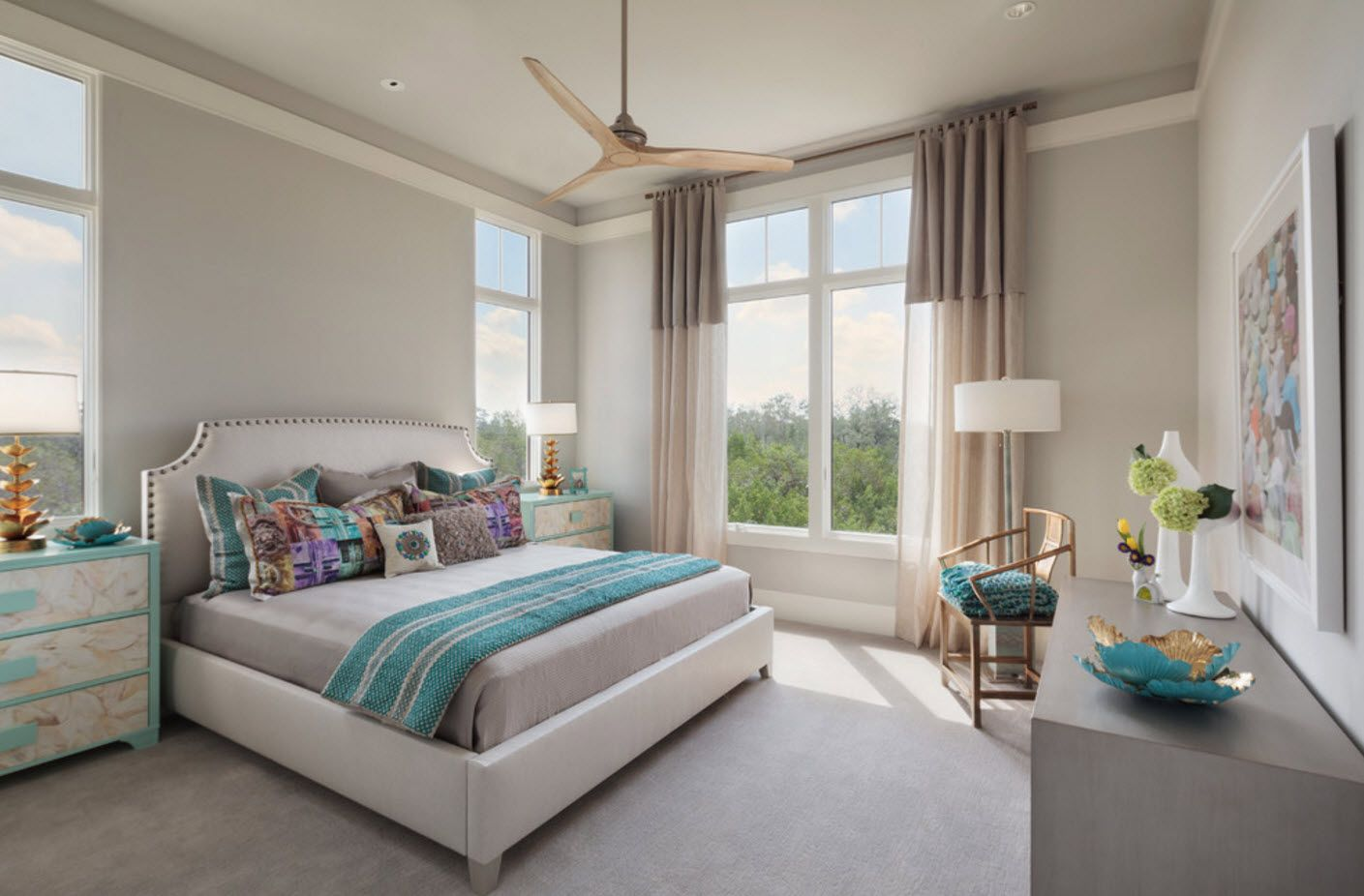 Nice modern atmosphere in the bedroom with platform bed and large windows