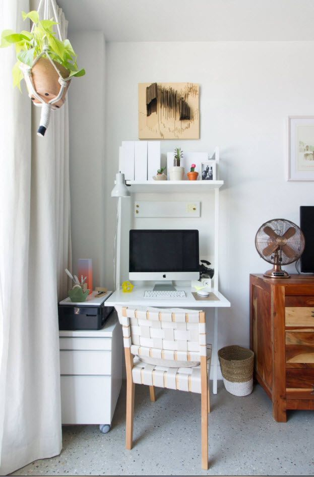 Calm atmosphere of the home office zone in vintage style