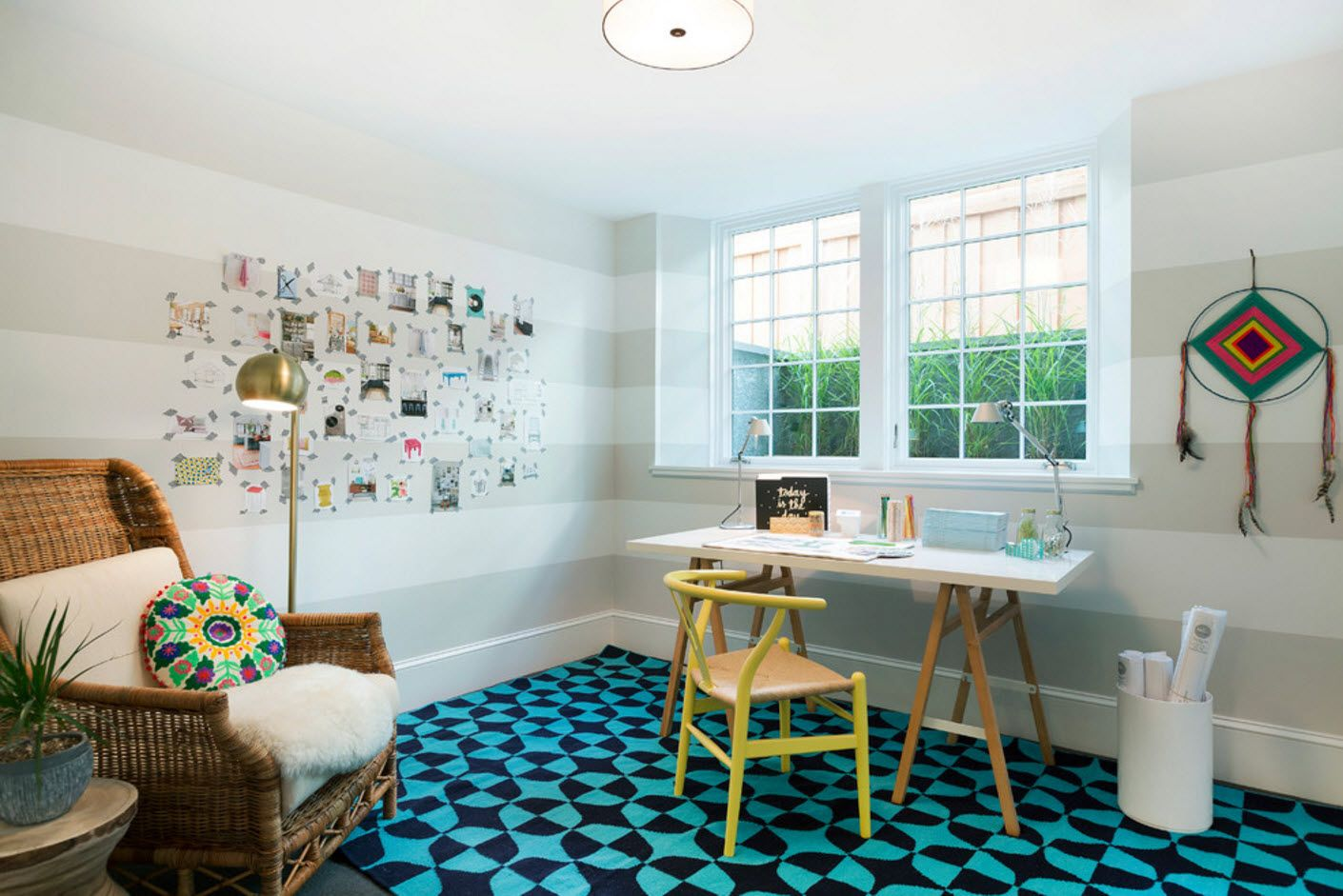Top 100 Modern Home Office Design Trends 2017. White interior with blue floor design and chess pattern