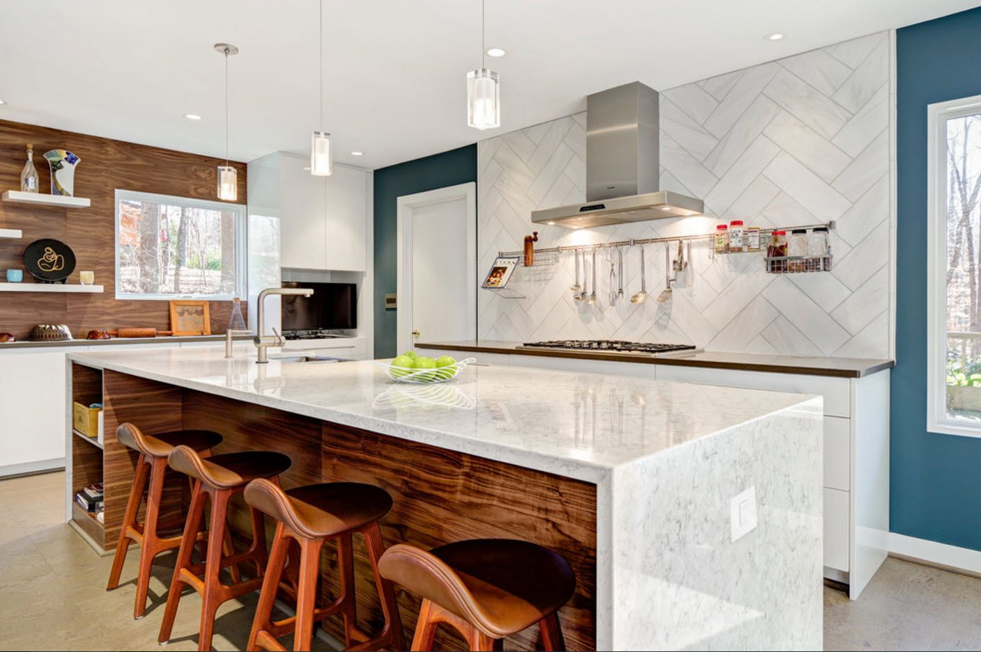 White glossy surface of the kitchen island and with wooden streaked sides