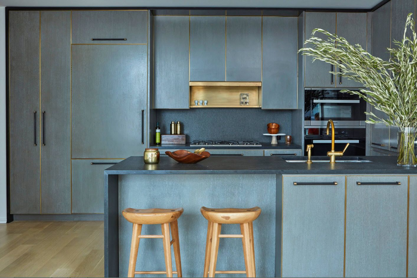 Concrete color is dominating for this modern kitchen interior decoration