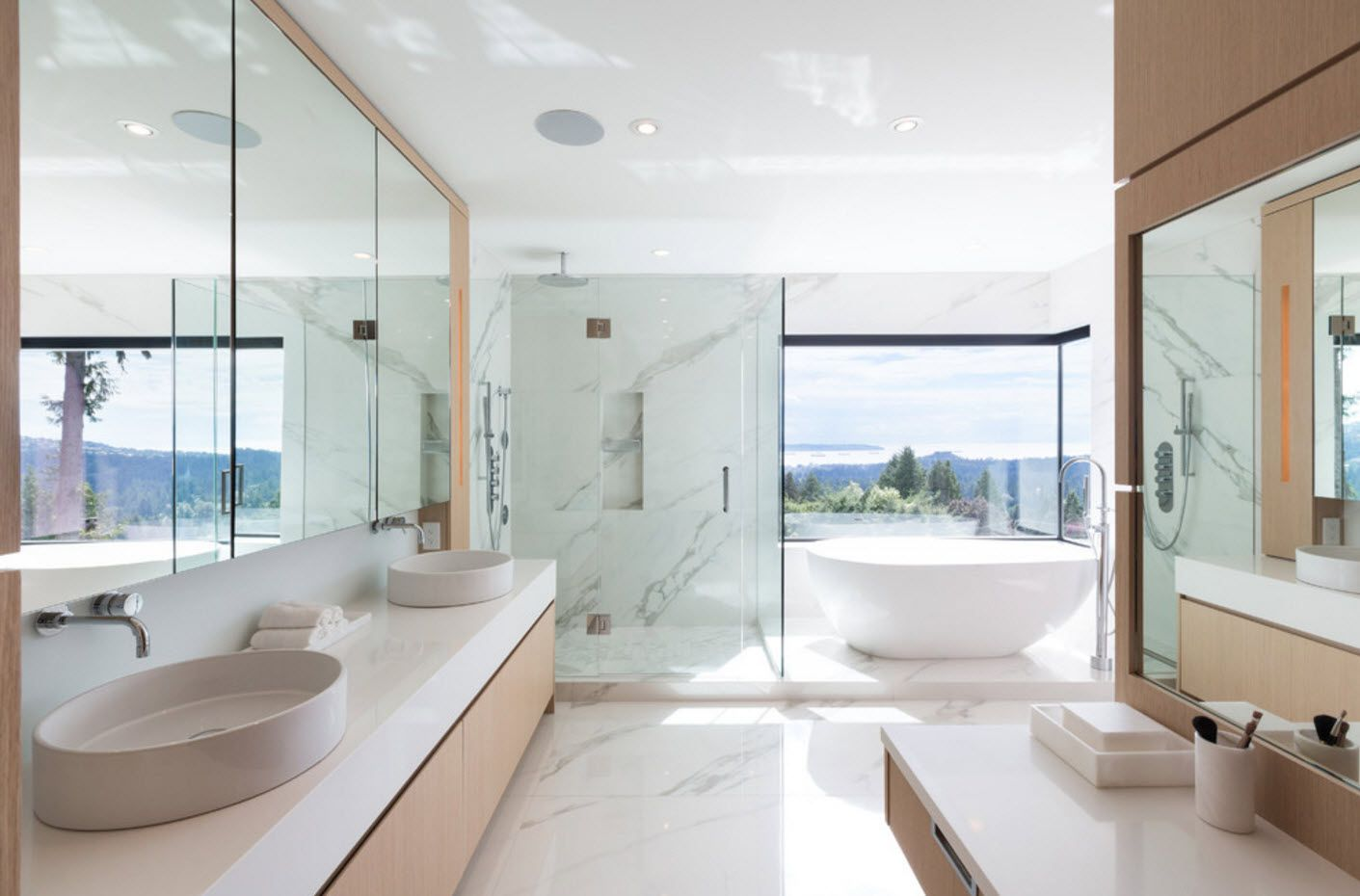 White modern top-notch design of the bathroom with glass shower zone