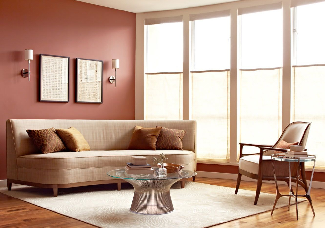 Nice light burgundy painted wall for the modern living