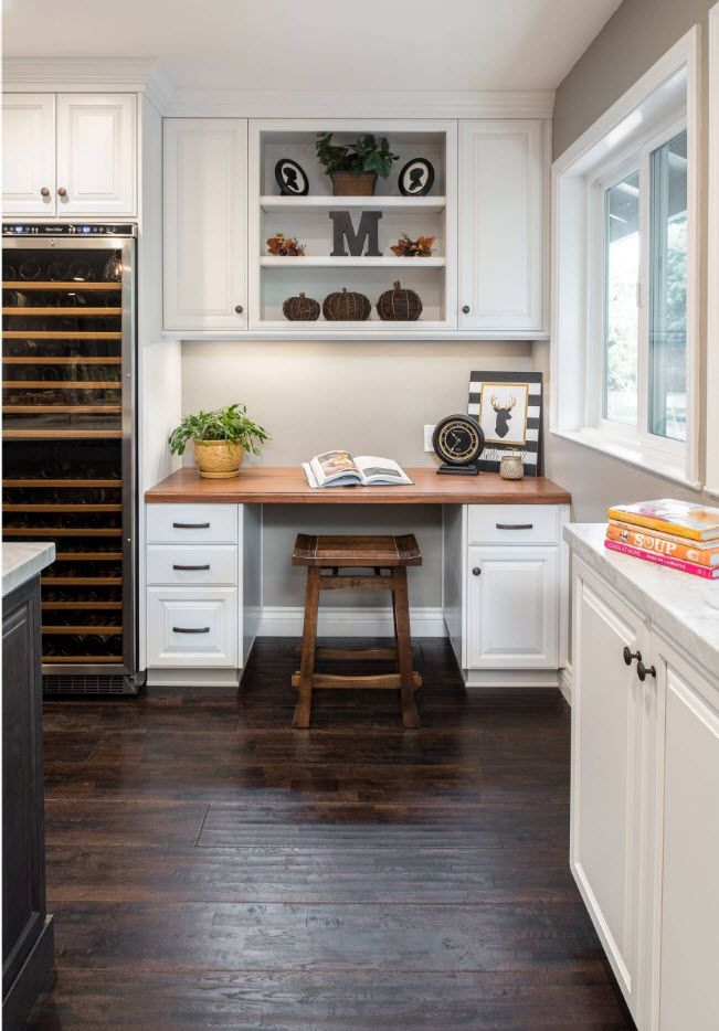 Top 100 Modern Home Office Design Trends 2017. Country styled kitchen in white with working zone