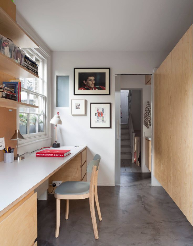 Gorgeous working space at the hallway of the large apartment