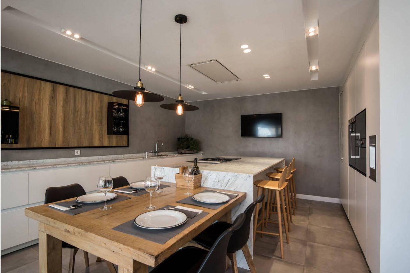 Scandinavian modernity at the cottage kitchen in dark gray color scheme