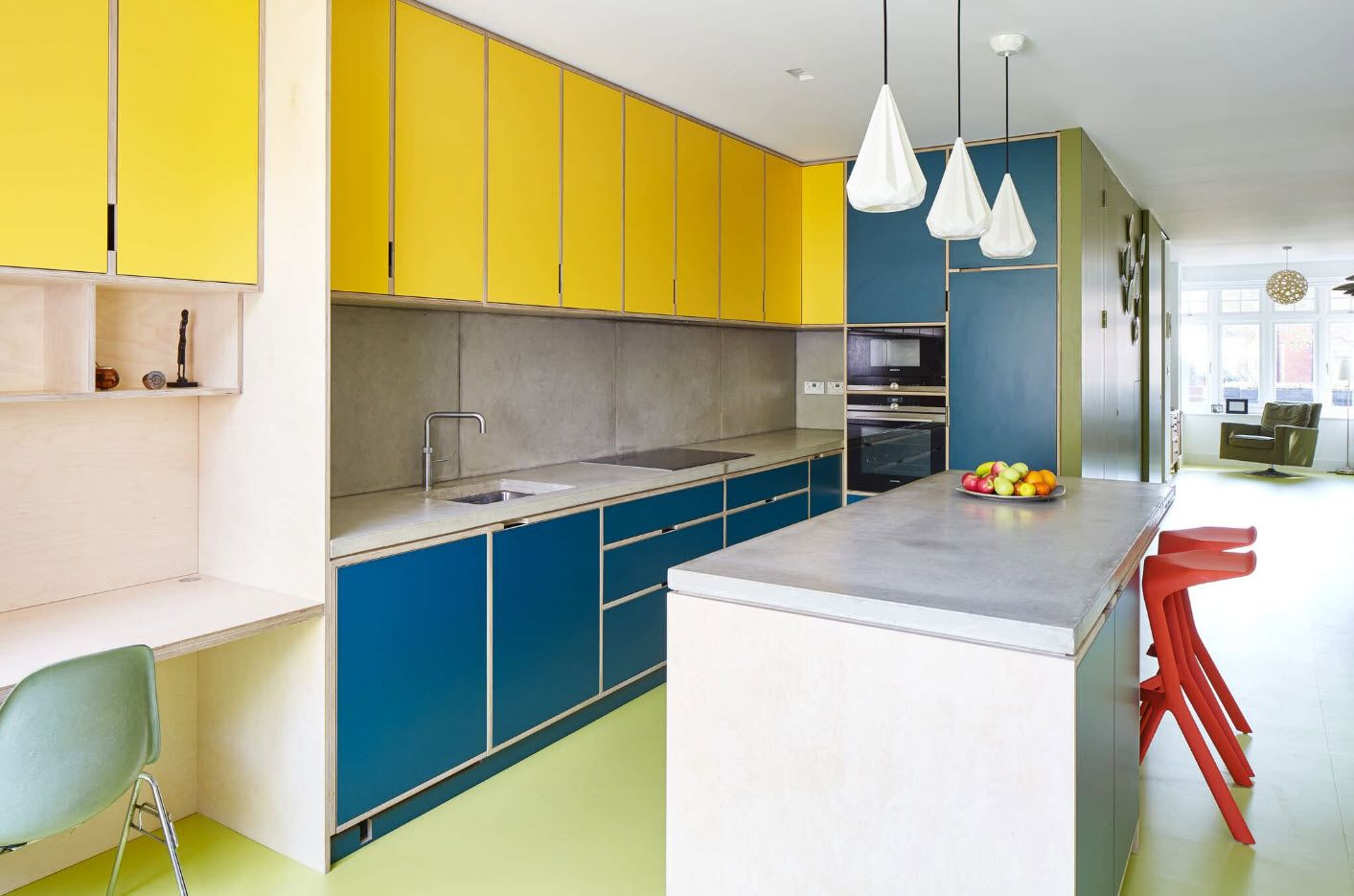 Yellow and blue nice color combination for the kitchen furniture set