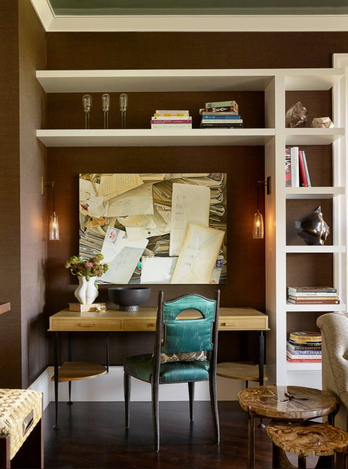 Top 100 Modern Home Office Design Trends 2017. Brown wall paint and unusual form of the wall shelves and storage