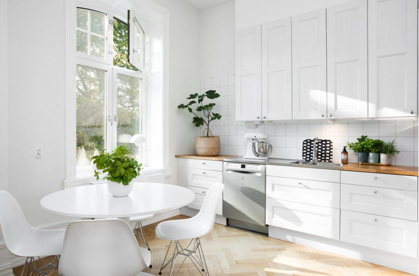 Absolutely white interior of the kitchen diluted with the greenery