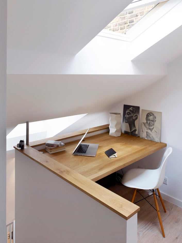 Top 100 Modern Home Office Design Trends 2017. Loft apartment with slanted ceiling with light wooden top