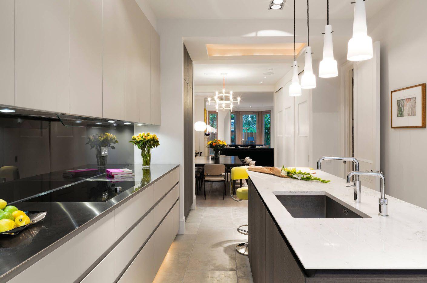 40 Square Feet Kitchen Modern Design Ideas & Layout Types. Galley kitchen with monolithic kitchen set and dark bordered island