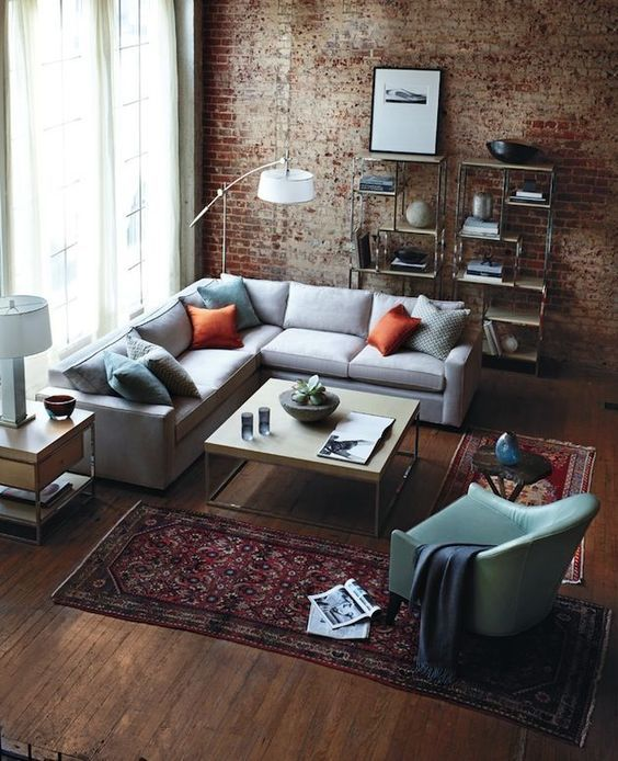 100+ Photo Modern Living Room Decoration Ideas. Close-up view of the loft and vintage styled interior