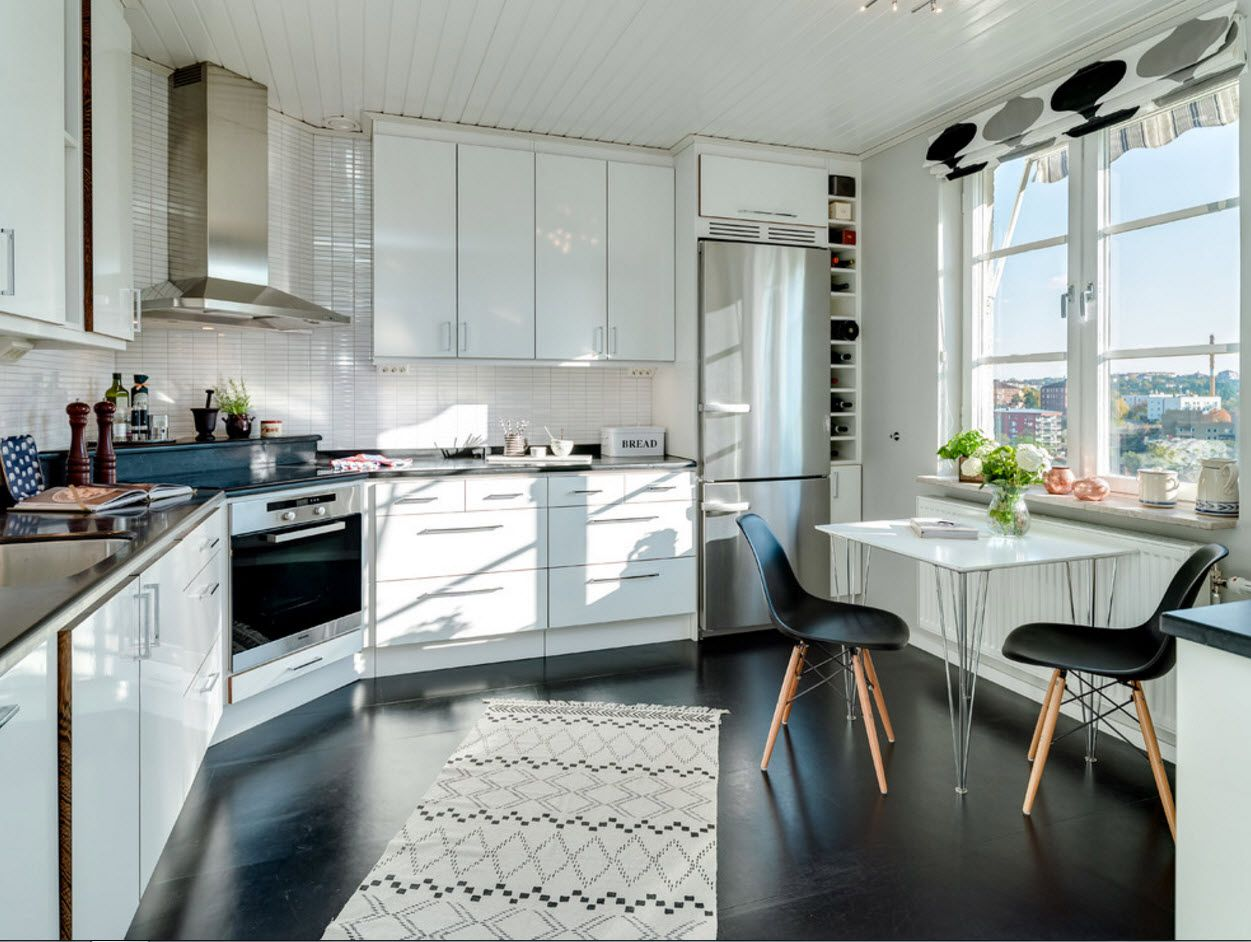 Unusual geometry of the kitchen in Scandinavian style