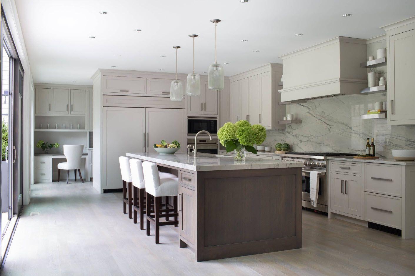 Hi-tech minimalism in large kitchen