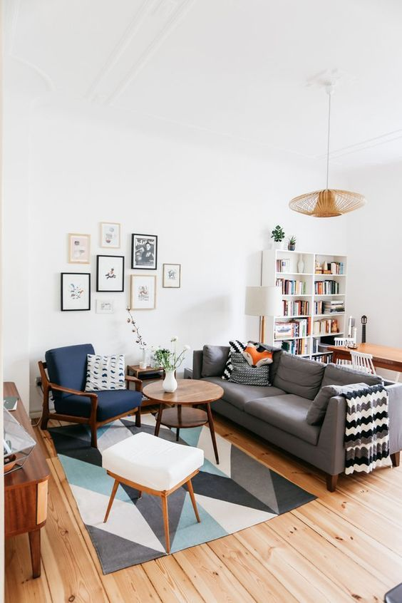 100+ Photo Modern Living Room Decoration Ideas. Full of different sized pictures collage in the Scandi styled space