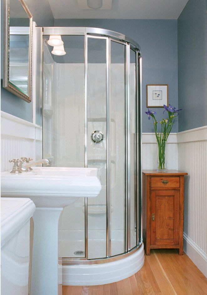 Wooden storage box and the plant in the shower