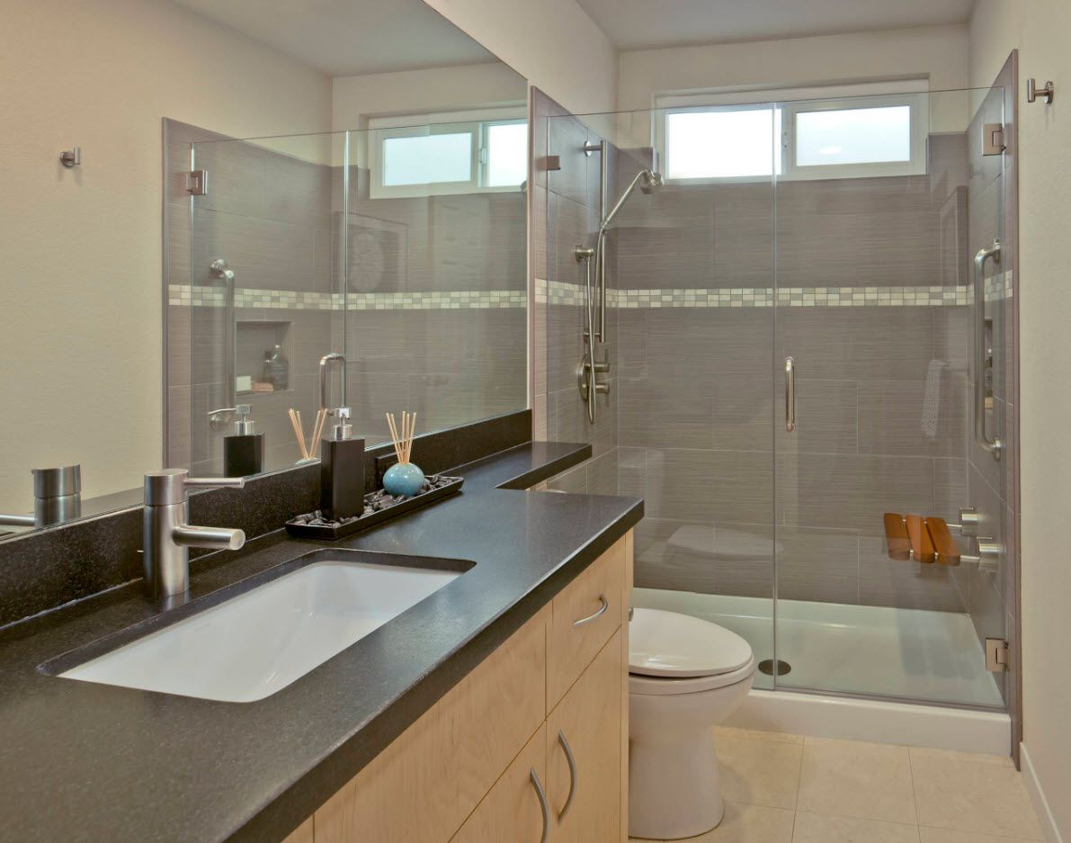 Gray concept of the modern bathroom with hi-tech touch