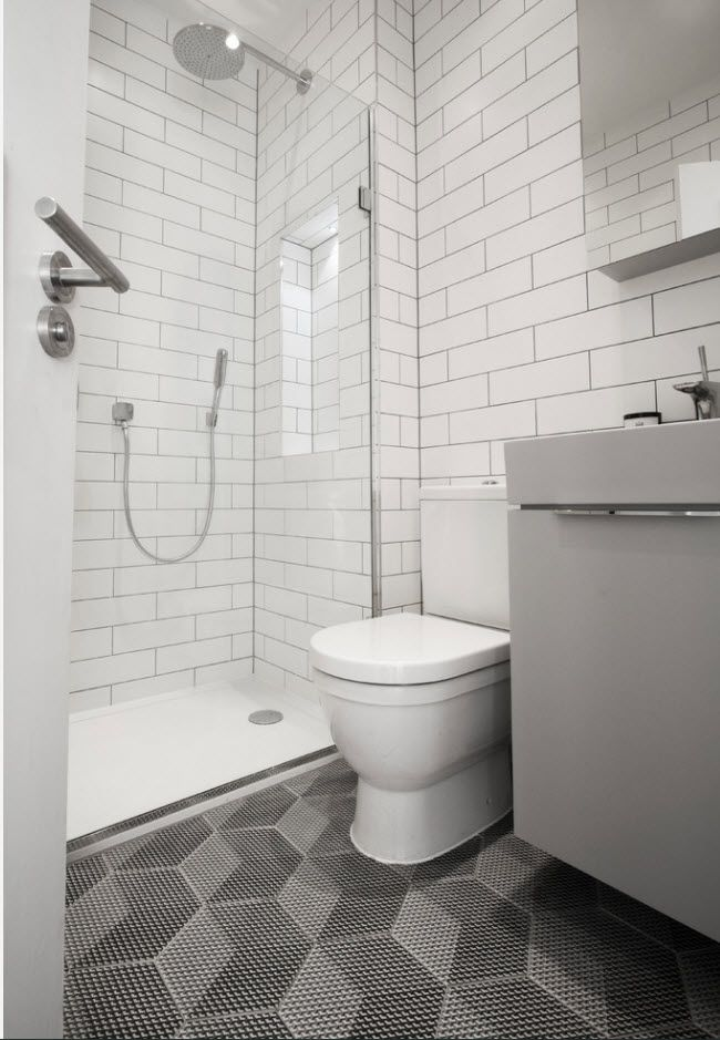 Subway tiled bathroom with shower
