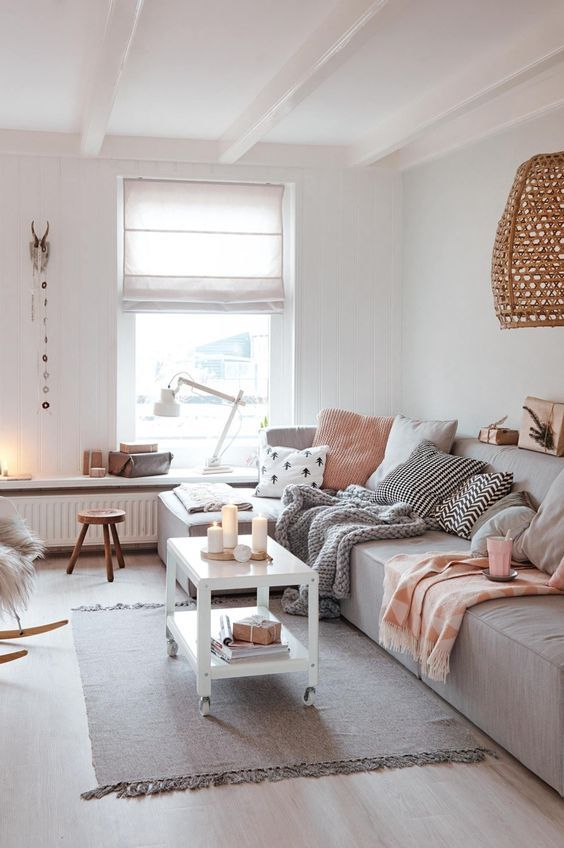 100+ Photo Modern Living Room Decoration Ideas. Calming gray interior of Scandi style with nice warm color accents