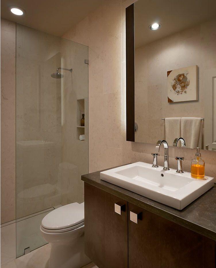 gray shades for bathroom with dark beige vanity