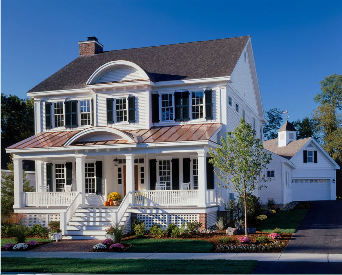 White facade and gray conbined roof levels for the classic house
