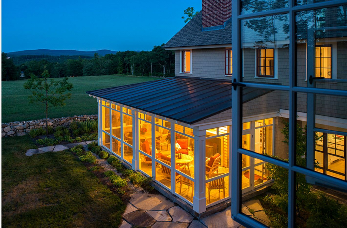 Latticed glass veranda