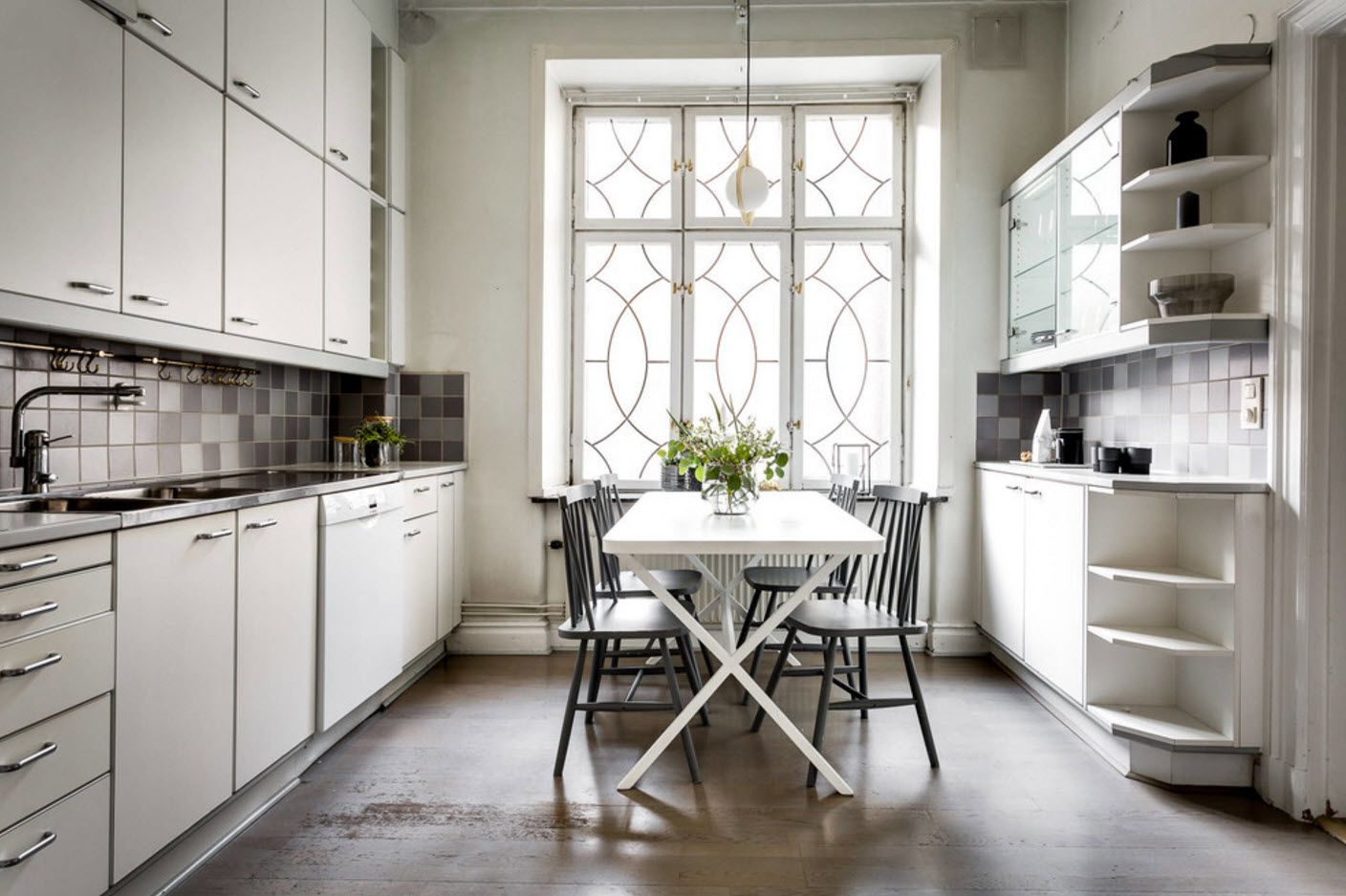 Nice circle latticed window in the modern kitchen setting