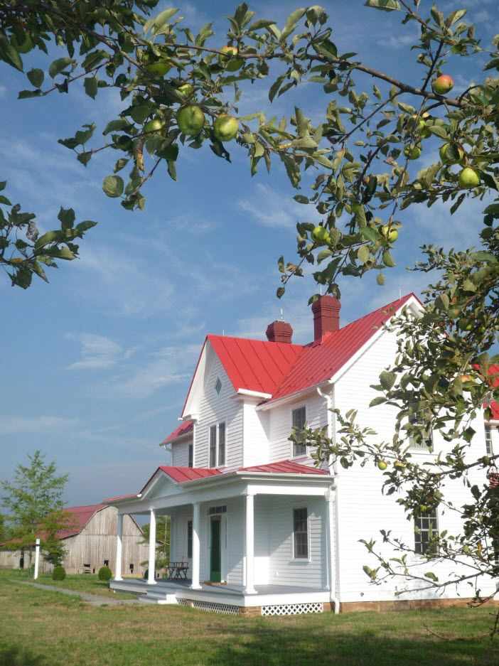 Red prominent gabled roof