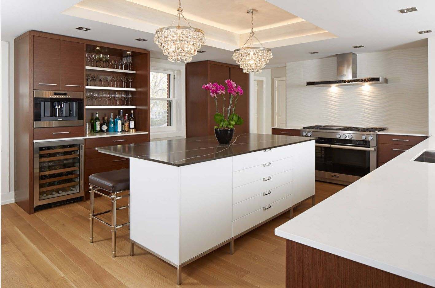 100+ Photo Design Ideas of Modern, Comfortable IKEA Kitchens. Contrasting design of island