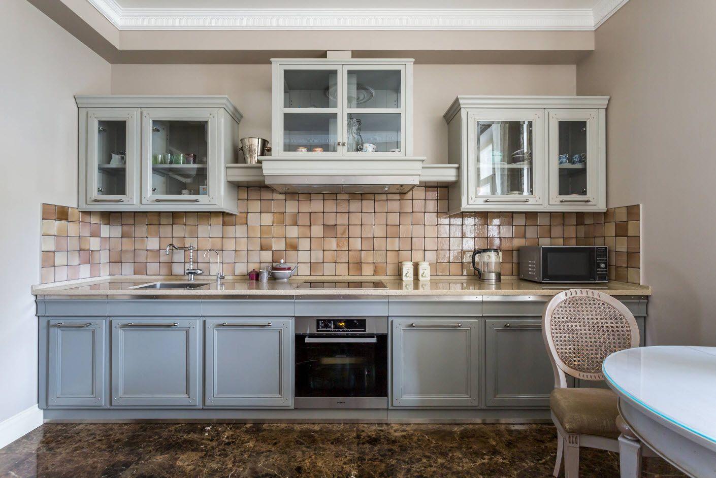 Practical tiled splashback in rustic styled Ikea kitchen