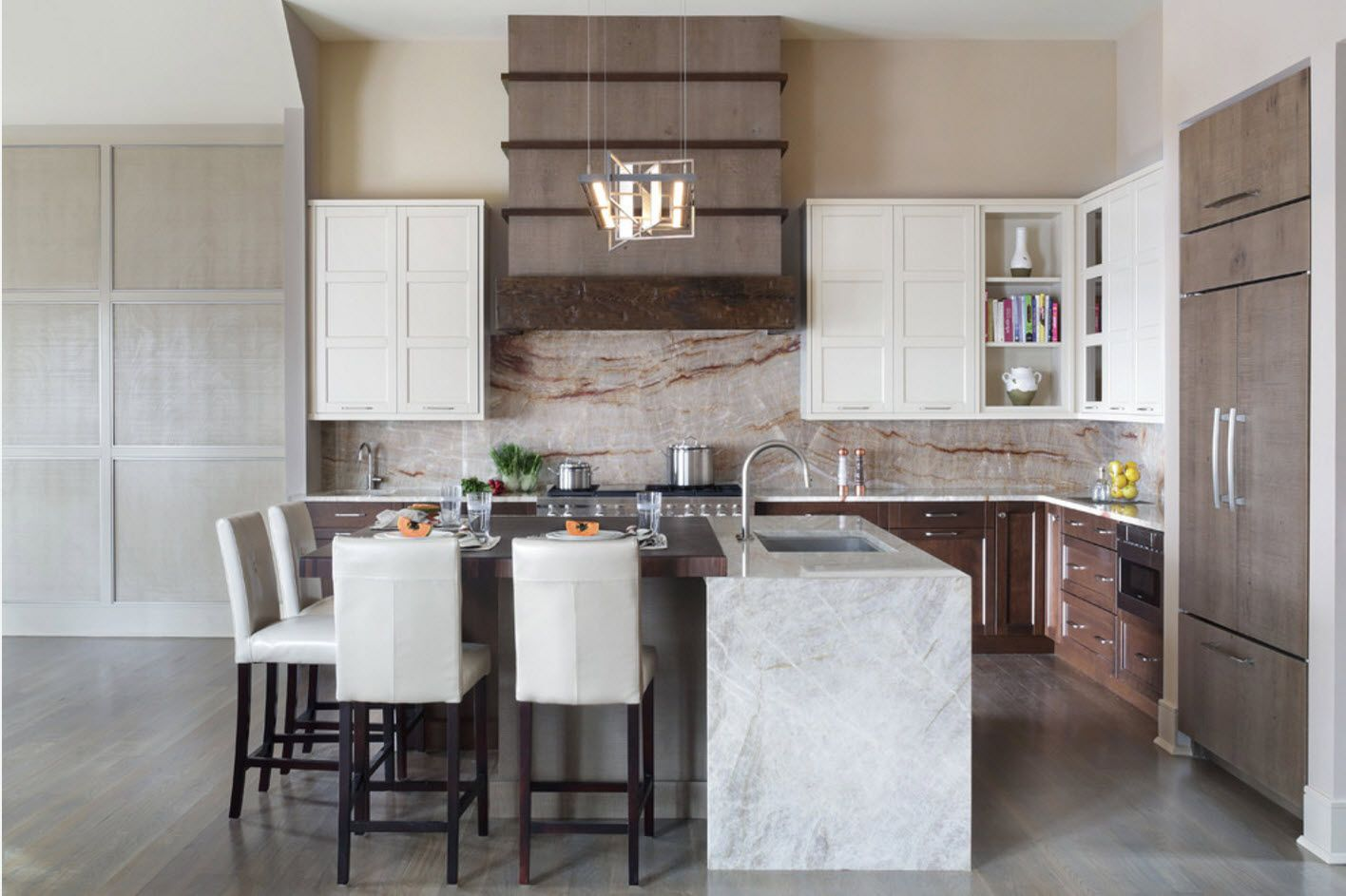 100+ Photo Design Ideas of Modern, Comfortable IKEA Kitchens. Marble imitation and wooden bottom of the furniture