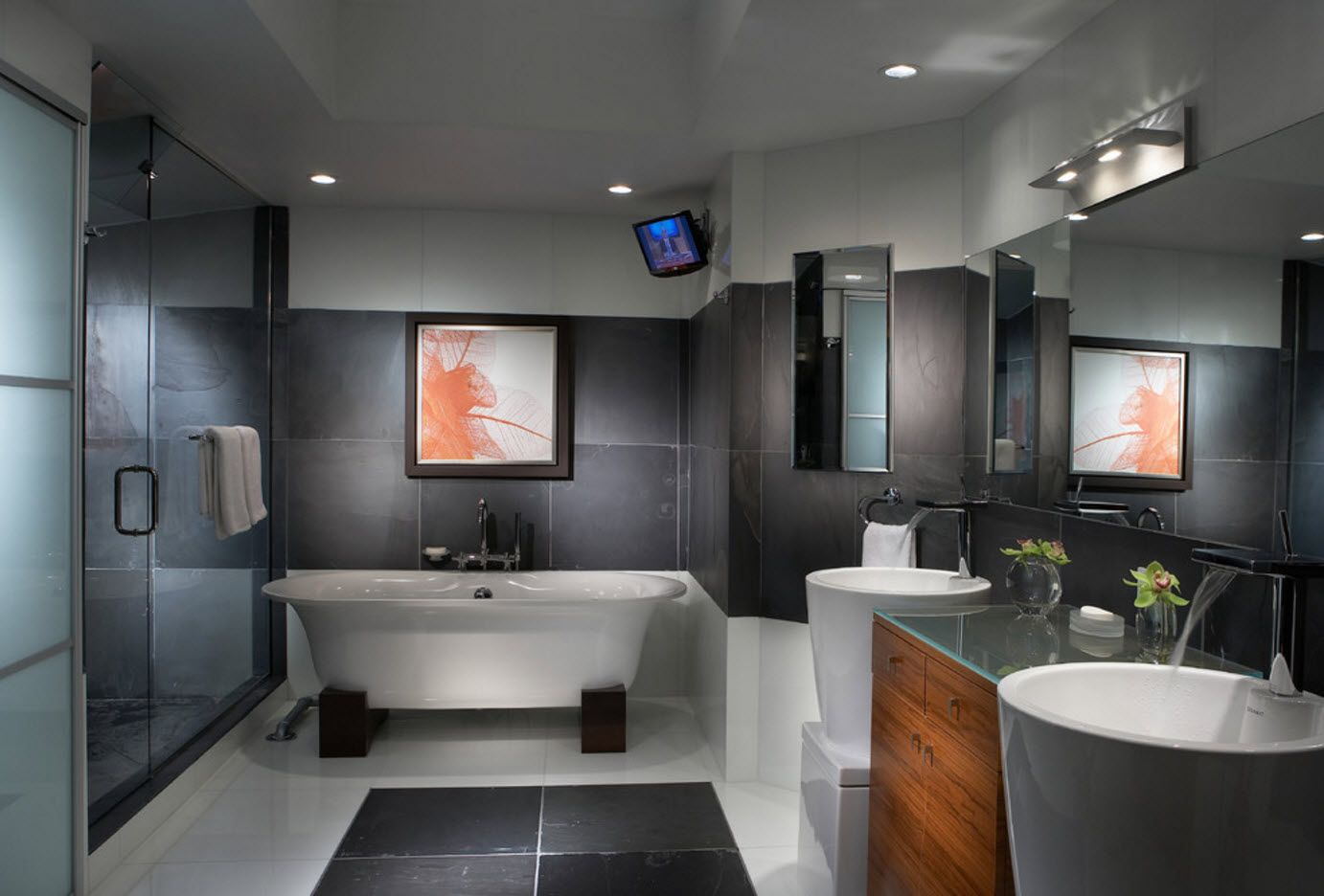 Gray decor of the modern bathroom with bright picture