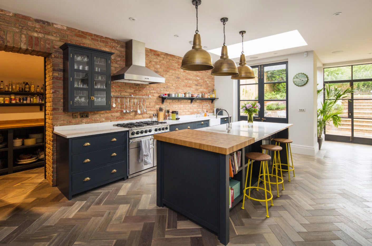Modern mix of design styles in the galley kitchen