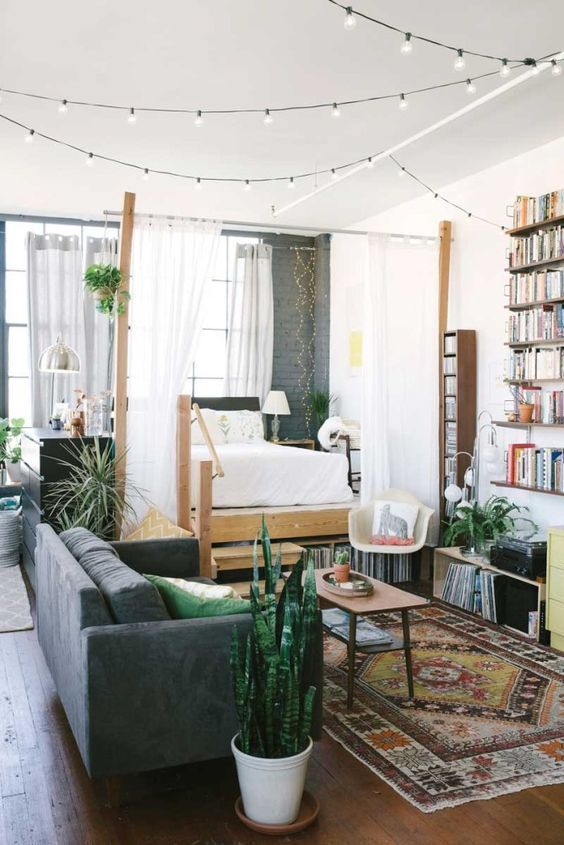 Eco style notes in the living full of books