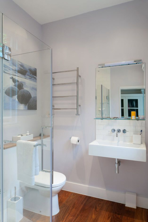 Nice gray color palette for the modern bathroom