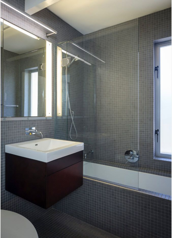 gray design in the hi-tech bathroom