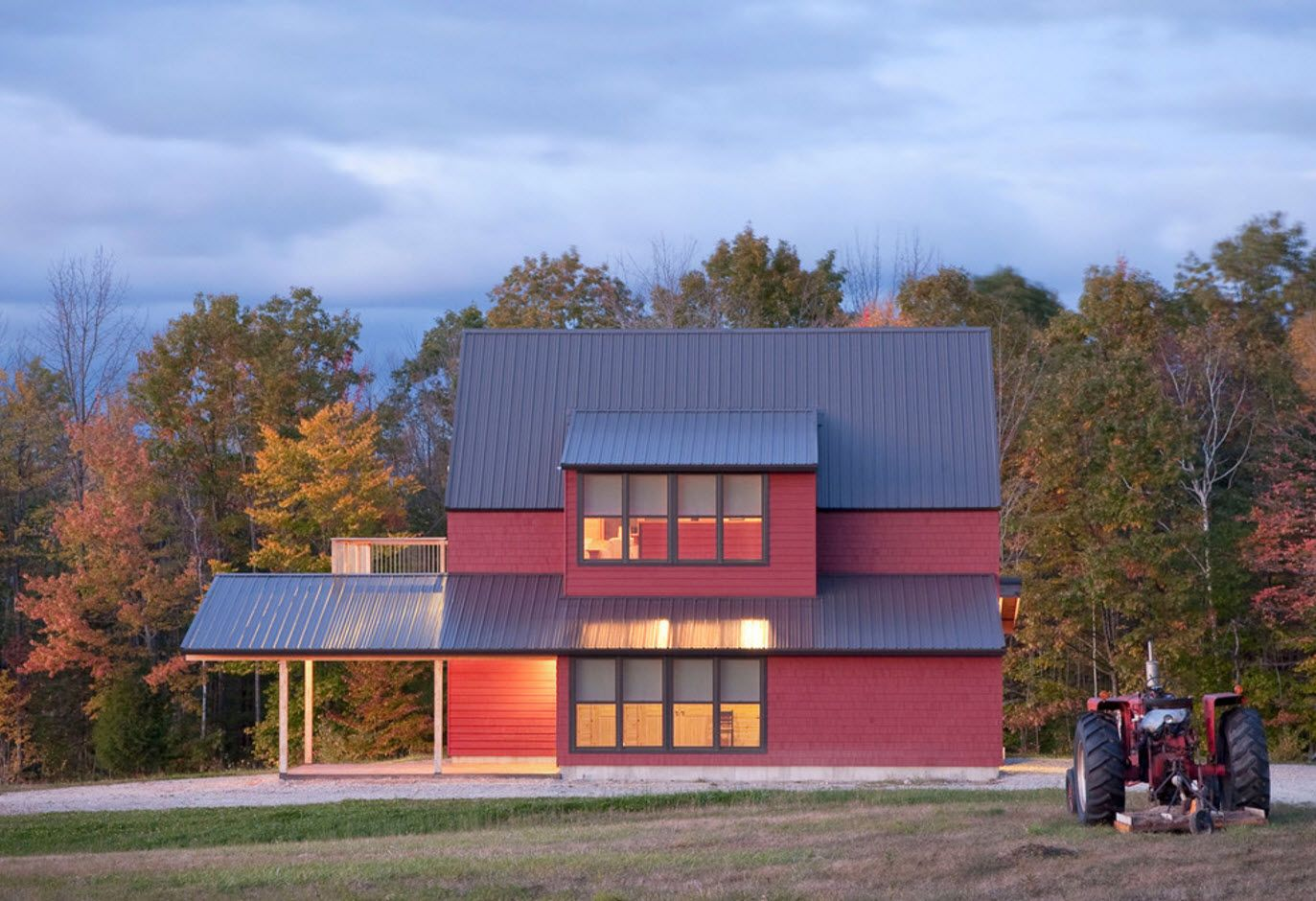 100+ Private House Roofs Beautiful Design Ideas. Complex mansard roof of the red brick house in the forest