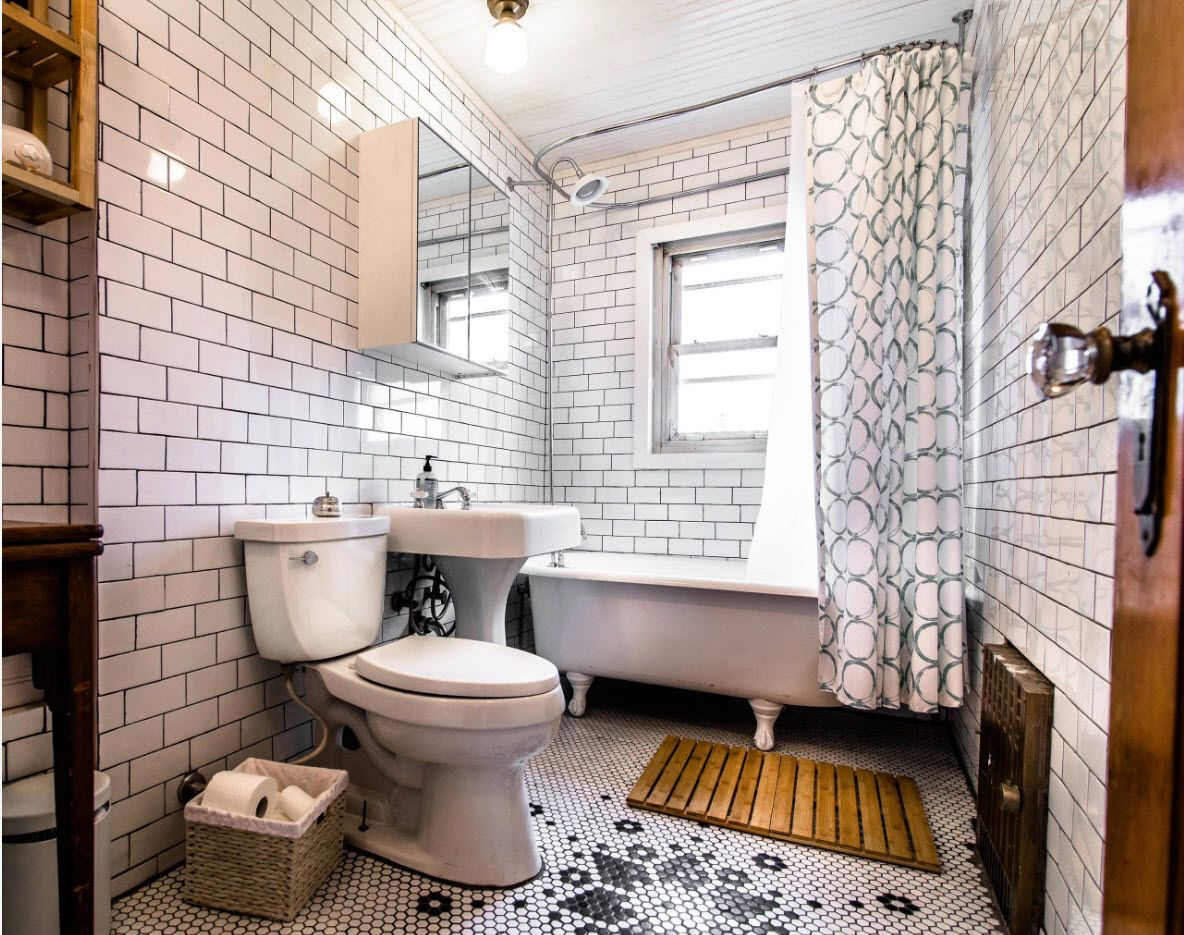 Subway tiles for toilet walls