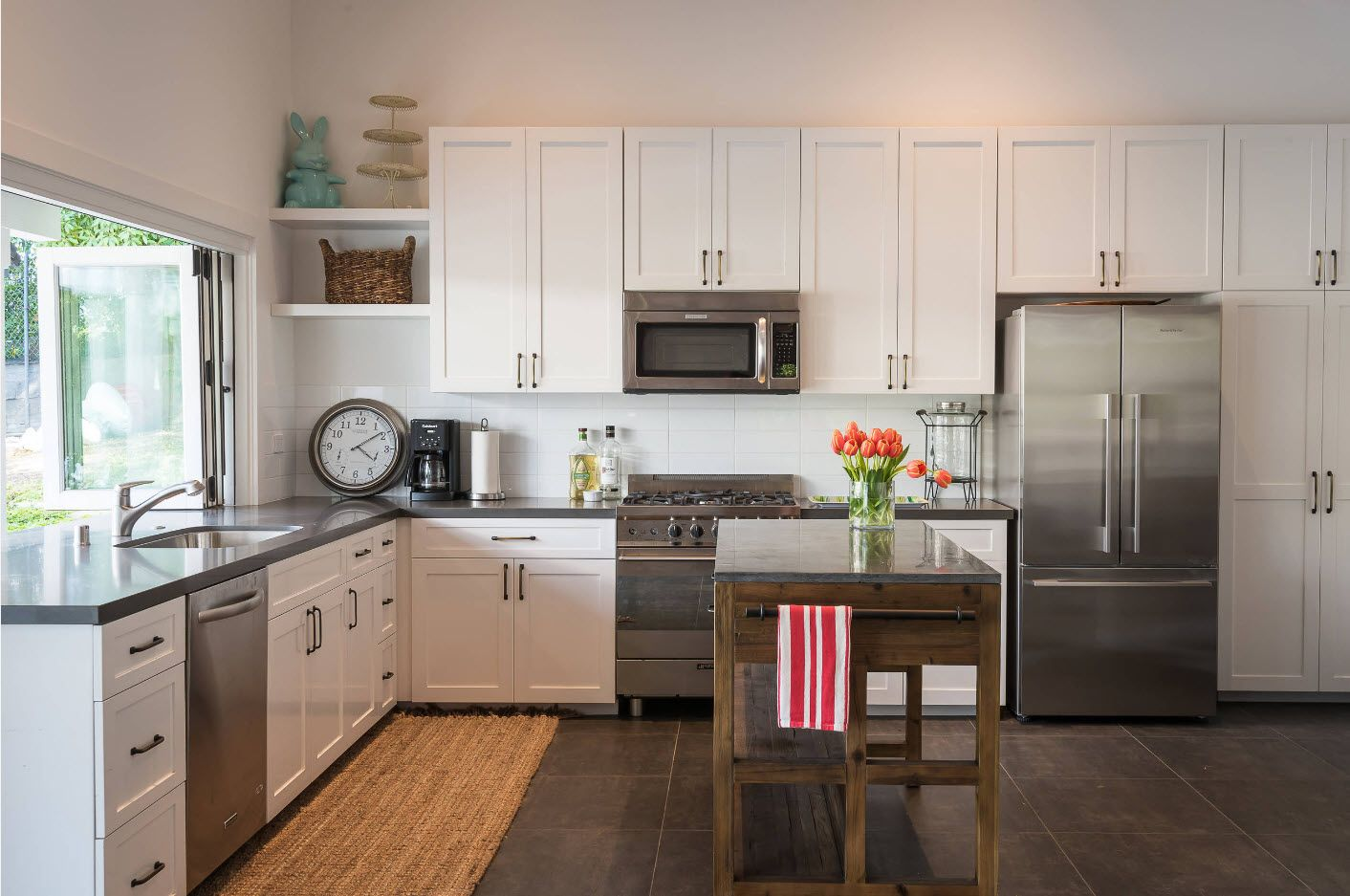 Classic in every sense kitchen with steel fridge