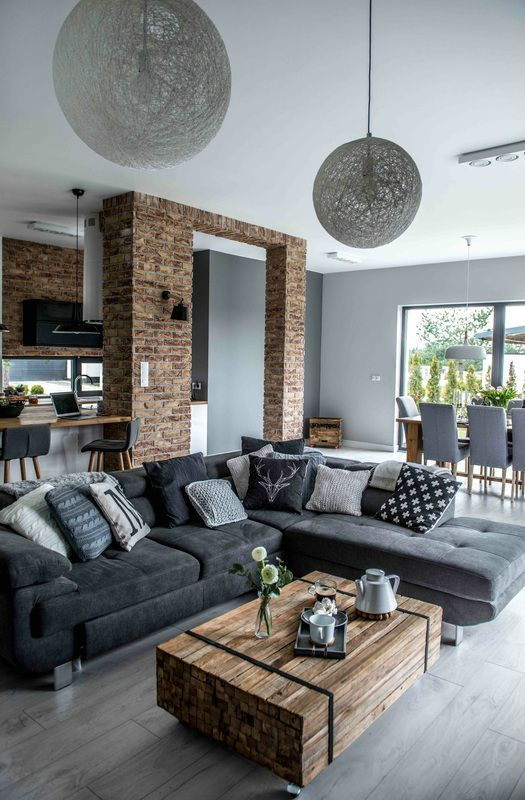 100+ Photo Modern Living Room Decoration Ideas. Brickwork arch in the zoned area