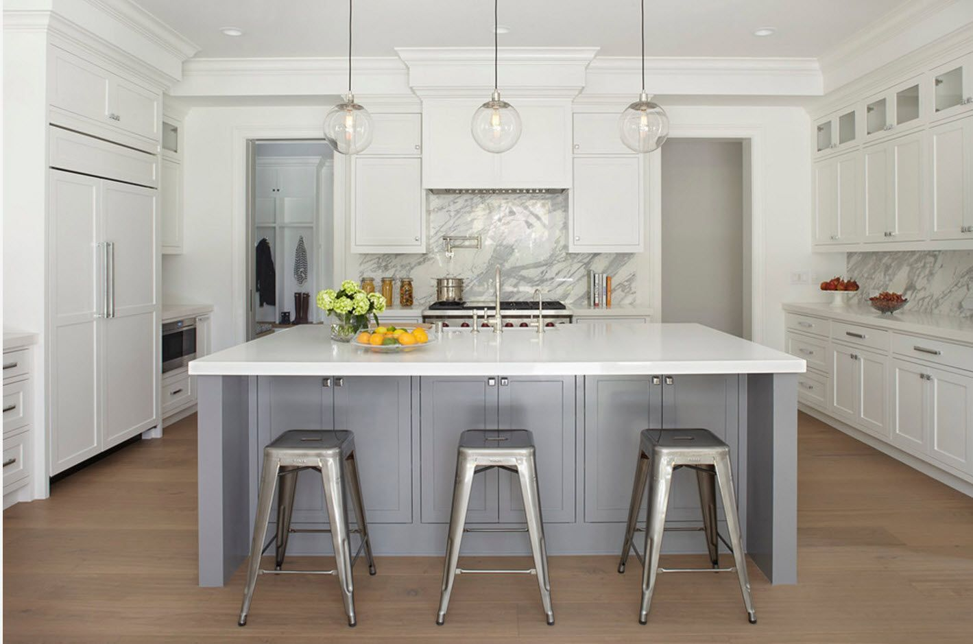 White and gray palette for modern kitchen