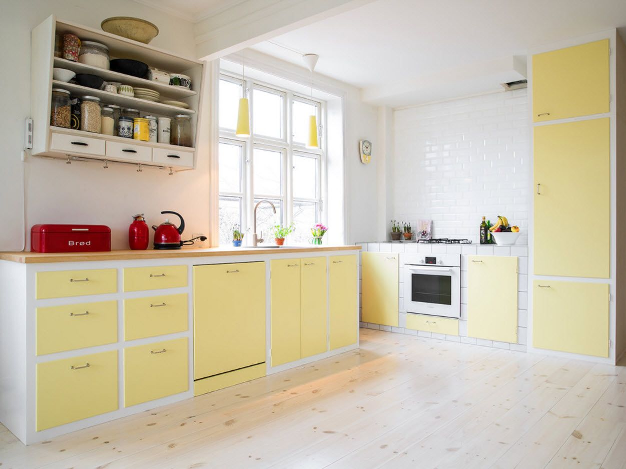 100+ Photo Design Ideas of Modern, Comfortable IKEA Kitchens. yellow furniture bottom trimming