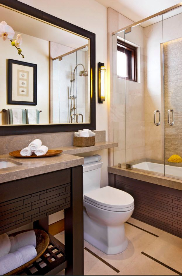 Brown color palette for contemporary styled bathroom