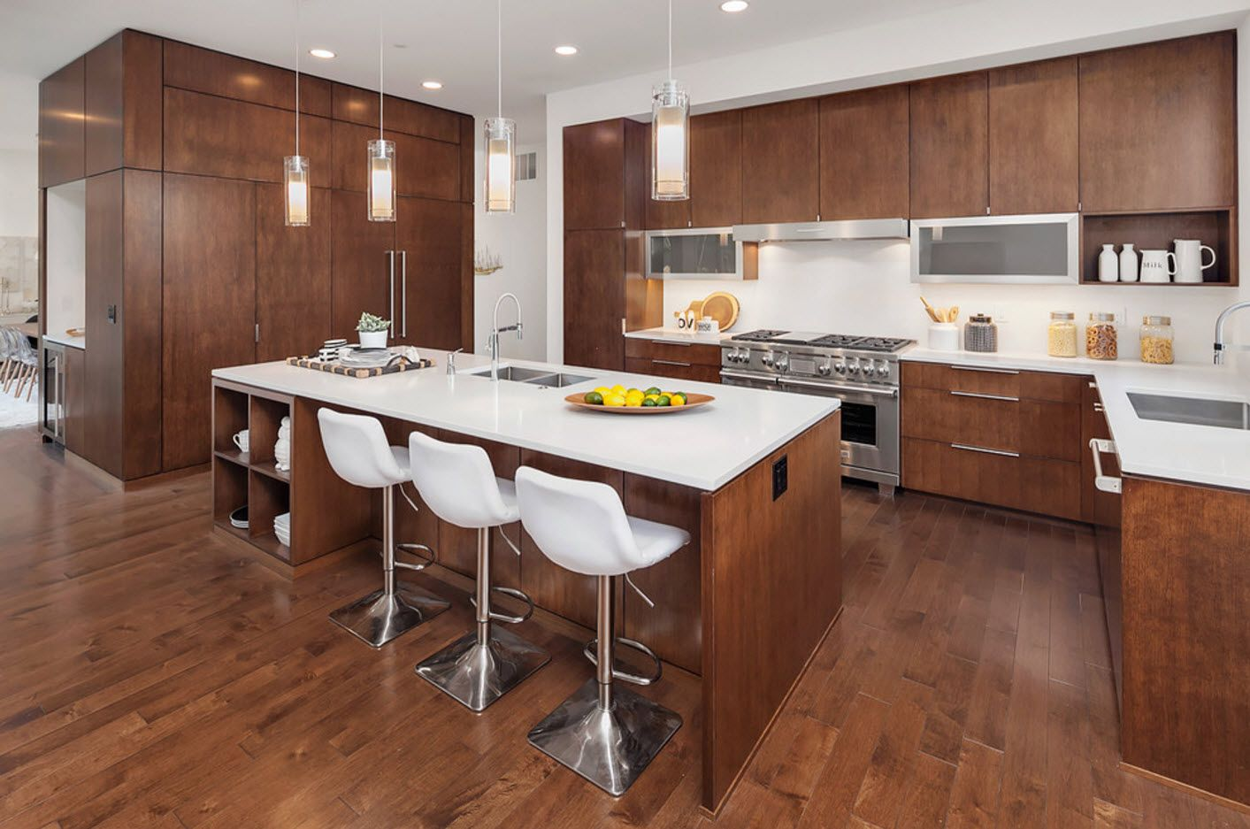 100+ Photo Design Ideas of Modern, Comfortable IKEA Kitchens. Beige wooden trimming of the whole interior